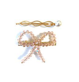 Crystal Set Bow Pink